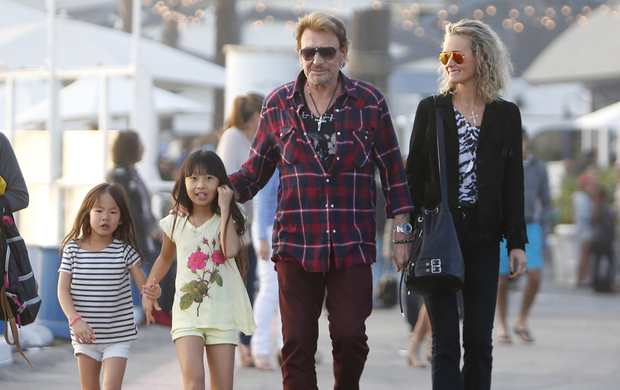 Johnny Hallyday Santa Monica en famille