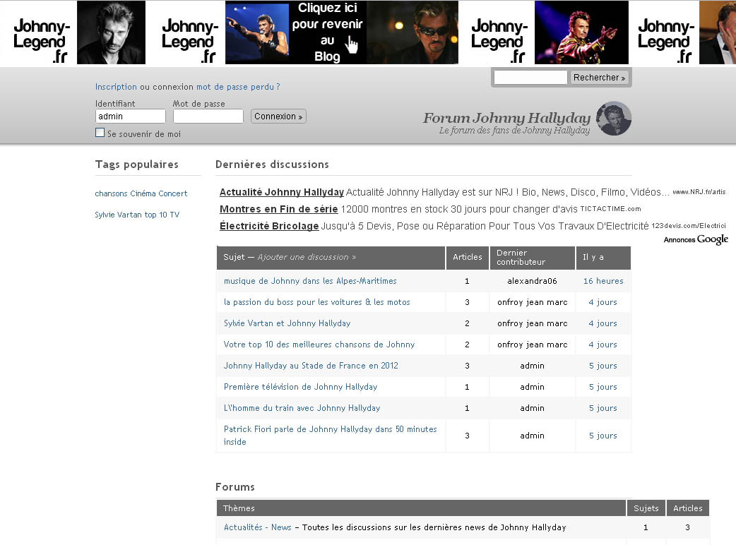 Un nouveau forum dedié à Johnny Hallyday