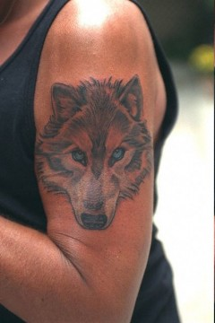 Tatouage loup de Johnny Hallyday