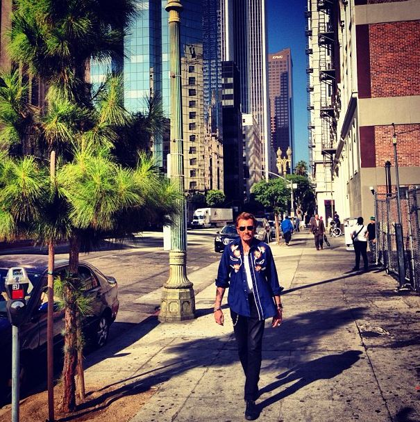 Johnny Hallyday shooting Downtown Los Angeles 2012
